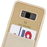 SINJIMORU Galaxy S8 Handyhülle mit Kartenfach, Galaxy S8 dünnes TPU Case mit Kartenhülle / S8 Wallet Case / S8 Bumper mit aufklebbarem Kartenhalter. Sinji Pouch Case für Samsung Galaxy S8, Beige.