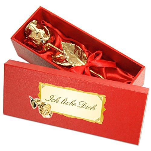 Echte Goldene Rose mit Widmung: Ich liebe dich, überzogen mit 999er GOLD, circa 16 cm, mit Geschenkschatulle und Echtheitszertifikat