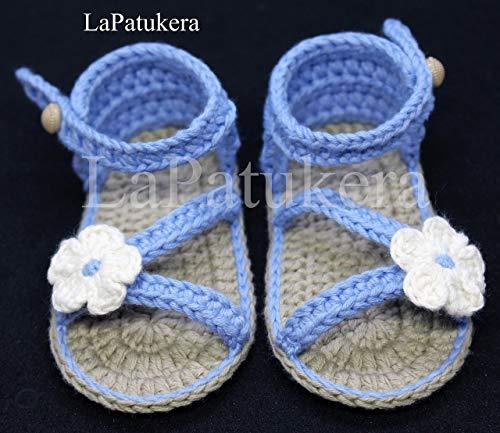 Patucos Sandalias modelo D`Italia bebé crochet, color