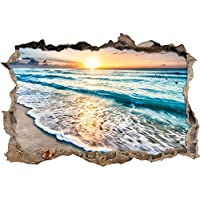meraviglioso tramonto sul mare svolta muro in look 3D, parete o in formato adesivo porta: 92x62cm, autoadesivi della parete, autoadesivo della parete, decorazione della parete
