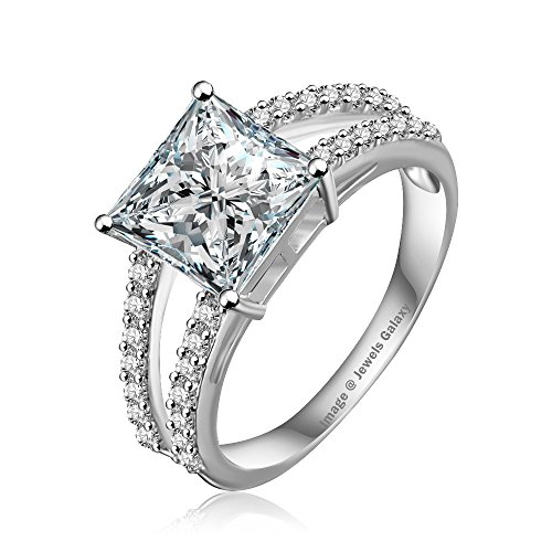 Jewels Galaxy Luxuria Engagement Rings for Women Platinum Plated Micro AAA Cubic Zirconia Wedding Bride Jewellery (8)