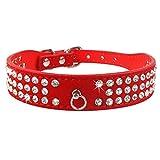 3 Reihen Bling Diamond Strass Wildleder Hund Halsbänder für Kleine mittlere Hunde Red S