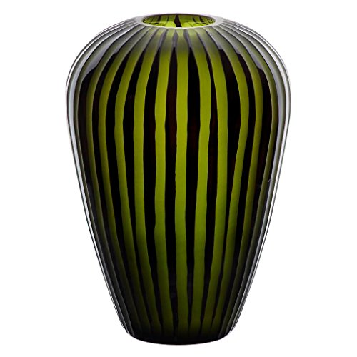 Blumenvase, Glas Vase TEXAS FLOWER, schwarz/grün, 24 cm, moderner Style (ART GLASS powered by CRISTALICA)