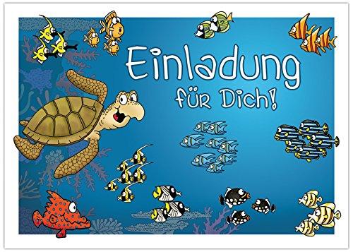 """10 Einladungskarten zum Kindergeburtstag """"Unter dem Meer"""" / Einladung für Kinder ins Schwimmbad, Aquarium, Meer,"""