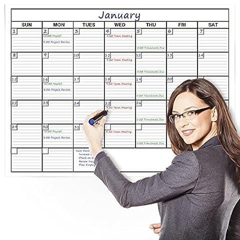 Delane Large Wet und Dry Erase Trocken abwischbar Wandkalender Planer, 61x 91cm–Bonus Schaumstoff Montage Stück enthalten - Dry Erase Calendario