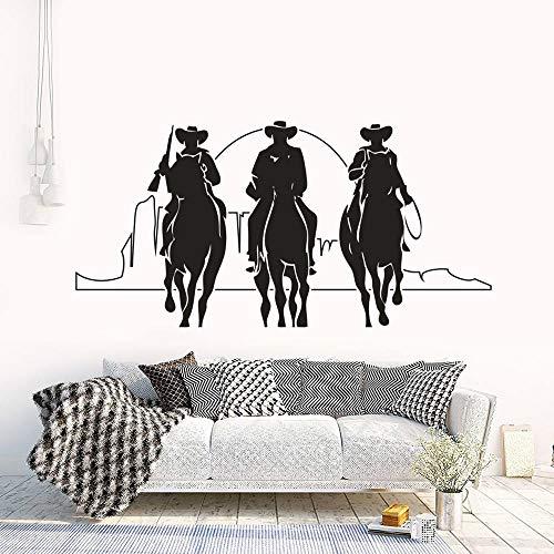Reiter Mit Sonnenuntergang Wandkunst Poster Drei Cowboys Decals Pferde Mann Silhouette Film Silhouette Aufkleber 84 * 42 cm (Silhouette Cowboy 3)
