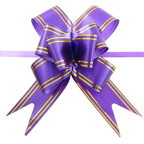 10 Stück Lila Gold-Ton Satin Pull-Bogen-Farbbänder für Geschenk-Verpackung (Farbband Und Bogen)