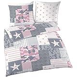 Rosagemustert Mit Weißen Streifen Bettwäsche Bettwäsche Möbel & Wohnen