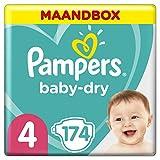 Pampers Baby-Dry Maat 4 (9-14kg), 174 Luiers, Luchtdoorlatende Banen Voor Een Droge Huid Die Kan Ademen Tijdens De Nacht, Voordeelverpakking