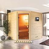 Karibu Sauna Elia mit Dachkranz  - für niedrige Räume