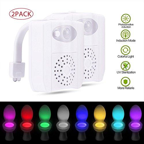 Leegoal (TM) WC-Night Light 2Pack, UV-Sterilisation WC-Sitz Licht Bewegungserkennung, 16wechselnden Farben innen WC-Glow WC-Schüssel Licht für Töpfchen Zug 16 Colors (Glow Wc-sitz)