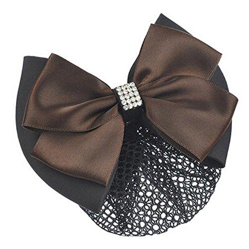 Mesdames Bow Tie Spring clip Barrette Barrette Pin Snood Cheveux net, café