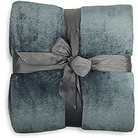 Lumaland Manta ideal para cama y sofá. Tacto cachemir de lujo 150 x 200 cm gris oscuro