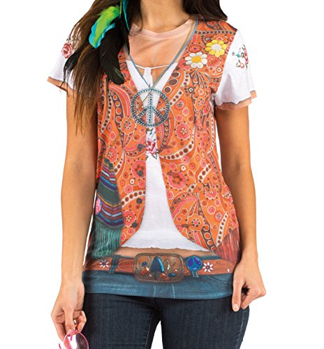 Boland 84220 - Fotorealistisches Shirt Hippie, Kostüme für (Der Mädchen Kostüme Jahre 60er)