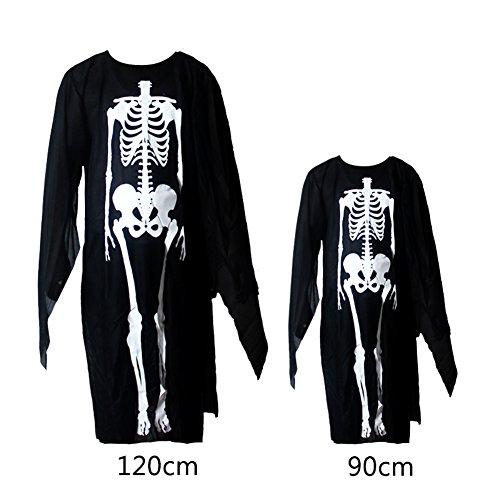 Imagen de disfraz unisex para adultos y niños con diseño aterrador de esqueleto y calavera, ideal para disfrazarte en halloween, 90cm for child alternativa