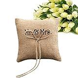 zreal almohada anillo de boda cojín de anillo MR & Mme Burlap yute Bow cordel rústico anillo de boda almohada 15cm * 15cm