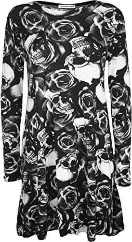 Mesdames nouveau pleine manches Cascade Hanky Hem Imprimé Robe trapèze Skull Rose