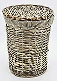 KUHEIGA Wäschekorb aus Weide, rund Höhe: 48cm Ø: 38cm Korb Weidenkorb mit Deckel
