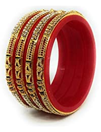Sai Designer Gold Plated Red Pola Bangle Set For Women (Pack Of 4)