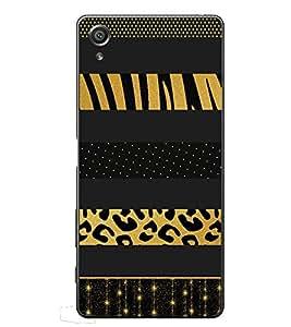 PrintVisa Black Beige Leapord High Gloss Designer Back Case Cover for Sony Xperia XA :: Sony Xperia XA Dual