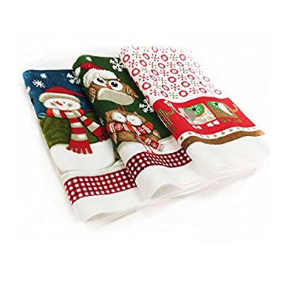 3 Christmas Tea Towels 100% Cotton