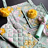 PIXEL HOME © Printed Apron with Centre Pocket 100% Cotton with Oven Mitten with Free Pot Holder - Designer Product Apron with Ties at Both End - Unisex Apron (Green Flower Print)