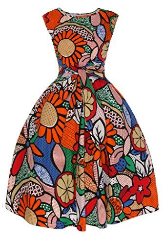 Femmes Années 1950 Rétro Vintage Julien Hepburn Pop Art Années 40 Thé Swing Robe Soirée Orange