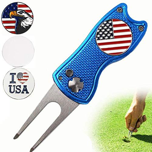 FINGER TEN Golf Divot Reparatur-Werkzeug und 3 US Ballmarker, Geschenk-Pack, faltbar, magnetisch, Edelstahl mit Pop-Up-Knopf für Männer und Frauen, blau -