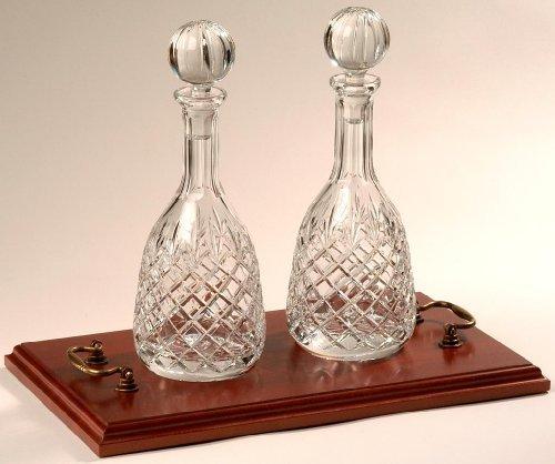 2 x Dekanter aus Kristall für Wein & Portwein - auf Holztablett