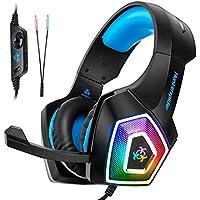 Auriculares para Juegos con Auriculares de micrófono y Sonido con Luces LED para Juegos de computadora
