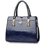 Krokodil-Muster Handtasche für Frauen Damen - Helle Lackleder / Hochwertige Umhängetasche / Europäischen und Amerikanischen Stil Handtasche / Klassisch und Funktions Tasche - Dunkelblau