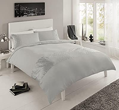 Pure Luxury Double Embroidered Duvet Quilt Cover Bedding Set Pillowcases Silver - inexpensive UK bedding shop.