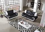 SAM® Stilvolle Sofa Garnitur Passero Combi 3 - 2 schwarz / weiß Wohnlandschaft mit Dreisitzer und Zweisitzer pflegeleichte Oberfläche bequeme Polsterung und modernes Design Kopfstütze