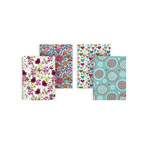Silvine–Cuaderno de espiral doble, varios corazones y patrones de flores–Pack de 4