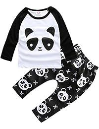 Bigood Cartoon Imprimé Panda T-shirt + Pantalon Longue Pour Enfant Bébé