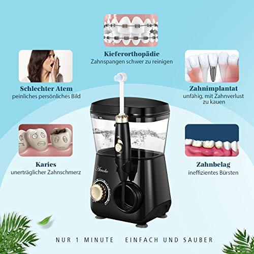 Munddusche,ATMOKO FDA Elektrische Munddusche, Zahnreiniger, Profi-Water Flosser mit 600ml Wassertank und 8 Ersatzdüse, Oral Irrigator 10 Wasserdruck, Wasser Zahnbürste zur