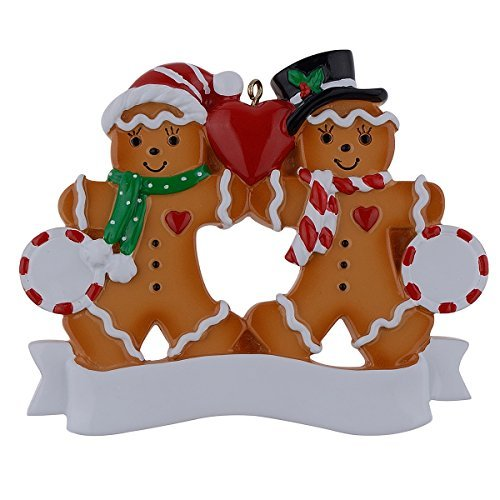 Personalisierte Ornament Lebkuchen Familie Weihnachtsgeschenk Family of 2 mehrfarbig