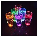 6 pieza Conjunto de cristal LED con retroiluminación LED champán cristal del partido de vidrio de 150 ml de la marca PRECORN