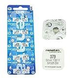 Renata 379 SR521SW Armbanduhr-Batterien, Low Drain, Silberoxid, 10 Stück