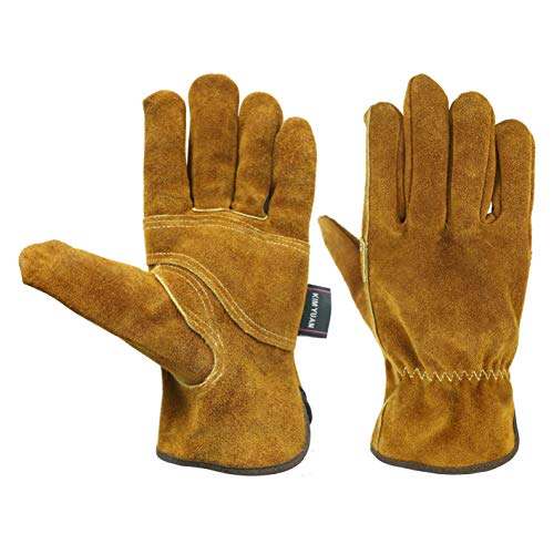 KIM YUAN Waterproof Leather Wrist Work Gloves Wear Resistant Puncture Resistant For Yard Gardening Farm Warehouse Building Men Women (L) Cut Resistant Leder
