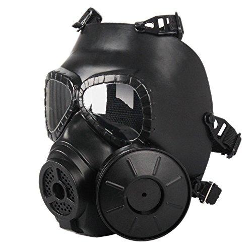 Balight Sports de Plein air Masque à gaz, Full Face Airsoft Masque Homme Femme Vêtements de Sport pour CS avec Ventilateur intégré, Noir