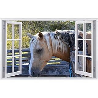 Pferd Katze Tierwelt Wandtattoo Wandsticker Wandaufkleber F0468 Größe 70 Cm  X 110 Cm