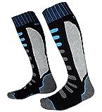Barrageon Chaussettes de Ski Homme Femme Thermique Chaude pour Ski, Randonnée, Cyclisme, Chaussette de Sport d'hiver Contrôle de l'Humidité Anti-Odeur Anti-Bactérienne Noir/Bleu - EU 39-42