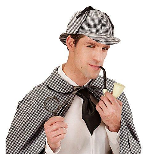 Sherlock Holmes Verkleidung bestehend aus Lupe, Pfeife und Mütze Spion Kostümset Agent Schnüffler Outfit Ermittler Kostüm Accessoires Detektiv Kostüm Set