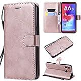 Galaxy A6s Hülle, Leder Tasche Handyhülle Flip Wallet Schutzhülle für Samsung Galaxy A6s mit Ständer und Kartenfächer/Magnetverschluss (Rotgold)