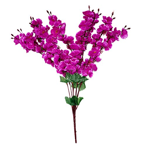 PINDIA Artificial 9 Stems Purple Blossoms Flower Plant for Home and Office...