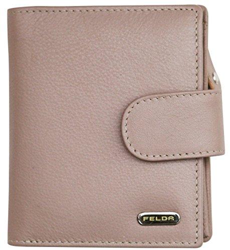 Felda Damen Geldbörse aus weichem Echtleder - 10 Kartenfächer - RFID-Blocker - Mehrfarbig - Auster