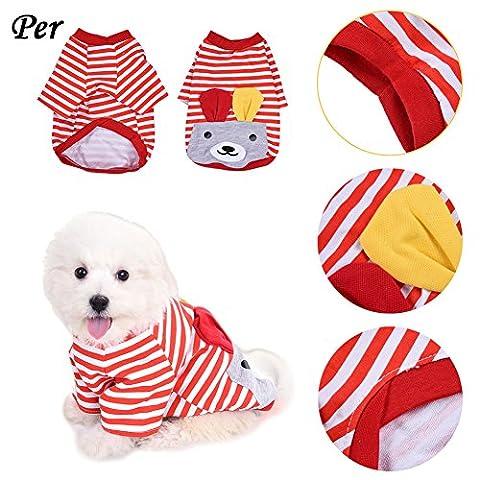 Haustier Hunde Katze Pyjamas mit Nettes Streifenmuster Muster und Ohren Design, Weich Alle Jahreszeiten Haustier Schlafanzug Jacken für Kleine und Mittlere Hunde - (Nette Katze Kostüme Ideen)