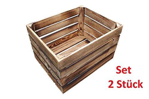2 Stück NEUE geflammte Holzkisten Obstkisten Apfelkisten Weinkiste - 2er Set