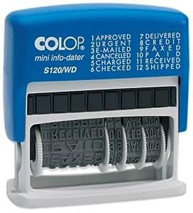Colop 14531000 S120/WD Tampon auto-encreur Date et 12 phrases Rouge/bleu 43 x 4 mm